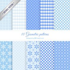 Blue geometric patterns Free Vector