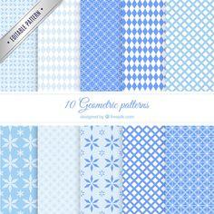 Blue geometric patterns Free Vector