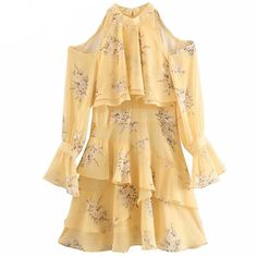 2019 Women Sexy Shoulder Off Halter Dress Lady Long Sleeve Layered Ruffle Floral Print Yellow Chiffon Dress Summer vestidos Dress Summer, Chiffon Dress, Outfit Of The Day, Sexy Women, Floral Prints, Yellow, Shoulder, Lady, Long Sleeve