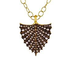 Cathy Waterman gold and black and white diamond shield pendant (US $14,400)