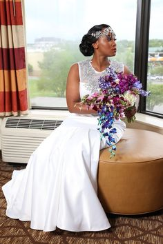 Mack got married! Here's an inside look our wedding day, and some tips we learned along the way. Blue Delphinium, Dendrobium Orchids, Our Wedding Day, Blue Wedding, Hydrangeas, Got Married, Wedding Bouquets, Formal Dresses, Purple