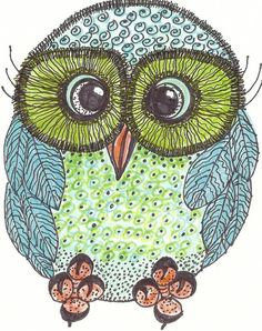 Whimsical Owl Art PrintOf An Original8x10Art от lynnetteaprilarts