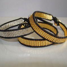 Bracelet perles miyuki torssadé baguette au choix doré ou argenté