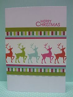 Colorful reindeer Christmas card. Love the different colors, really makes them stand out.