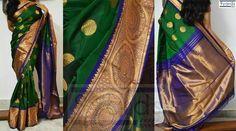 Bottle green and indigo zari border Banarasi silk saree