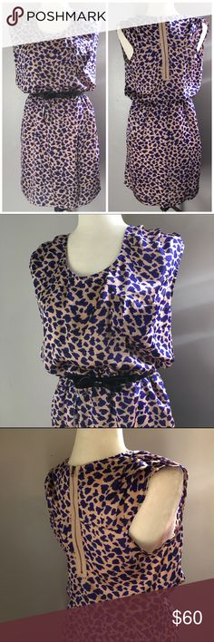 Leopard Print Dress Rouching at the shoulders. Kate Spade belt sold separately. Gathered waist. Zipper on the back. Fast shipping. Fits a little bigger like a large. Dresses