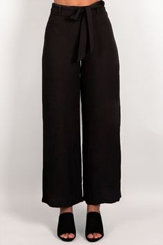 DINNER DATE LINEN TIE PANTS - Dissh