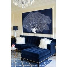 25 Stunning Living Rooms with Blue Velvet Sofas ❤ liked on Polyvore featuring home, furniture, sofas, blue velvet sofa, blue furniture, velvet couch, blue couch and velvet sofa