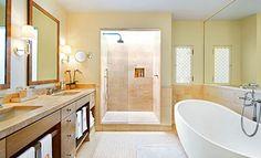 Traditional Home spa like bathroom.