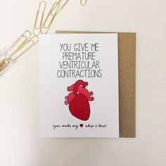 "Nerdy Science Valentine's Day Greeting Card ""You Give Me Premature Ventricular Contractions"" on Etsy!"