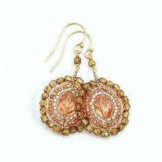 strawberry bronze mandala earrings beaded with by TheBeadedMandala, $20.00