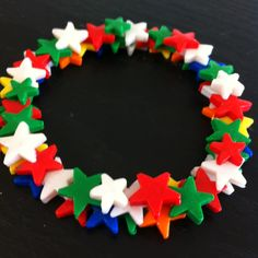 Wreath of stars ornament I made as a Christmas present using polymer clay