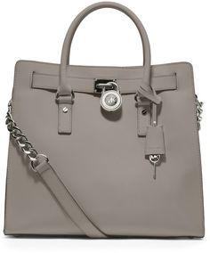 Michael By Michael Kors White Large Hamilton Saffiano Tote
