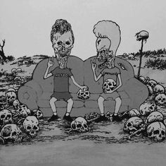 Zombie Beavis and Butthead Pastel Grunge, American Dad, Skull And Bones, Skull Art, Dark Art, Art Quotes, Creepy, Illustration Art, Geek Stuff