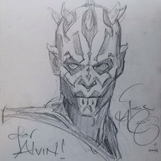 Star Wars - Darth Maul sketch by Iain McCaig (for Alvin Lee) *