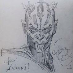 Star Wars - Darth Maul sketch by Iain McCaig (for Alvin Lee) *