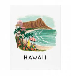 Create wall with places we've lived - Hawaii Illustrated Art Print