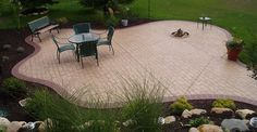 Brick, Free Form Concrete Patios Concreations, LLC Millersburg, IN Concrete Patios, Concrete Cost, Poured Concrete Patio, Concrete Backyard, Concrete Patio Designs, Stamped Concrete, Brick Patios, Concrete Stamping, Patio Steps