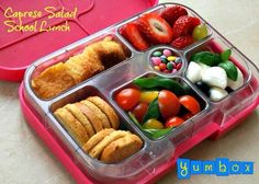 Caprese salad in a Yumbox.  Designed for kids but fantastic for all of us dieters who don't want portion control to come at the expense of balanced nutrition.  For more info see Www.yumbox-uk.co.uk