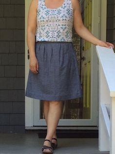 The Everyday Skirt pattern by Liesl & Co.  The fabric is Kaufman Chambray Union Slub Indigo.