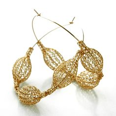 Gypsy Fashion Hoop Earrings . Gold with pods , delicate yet with a statement , feather light, a must have! - By Yoola