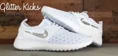 Women's Nike Juvenate Running Shoes By Glitter Kicks - Customized With Swarovski Crystal Rhinestones - White/White