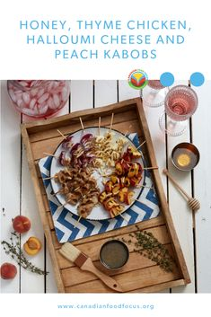 Skewers of chicken, onion, peaches and cheese on separate skewers, drizzled in a honey lemon dressing. Oats Recipes, No Dairy Recipes, Fruit Recipes, Vegetable Recipes, Barley Recipes, Mushroom Recipes, Vegetarian Recipes, New Chicken Recipes, Pork Recipes