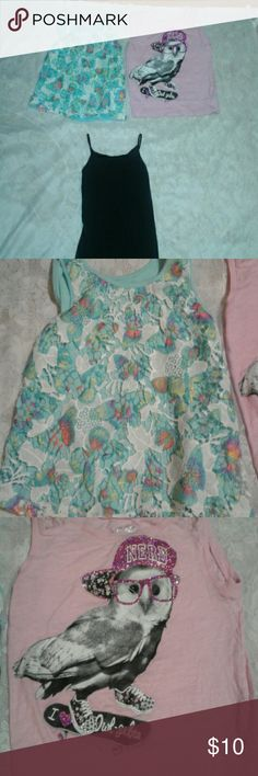 Lot of 3 girls tank tops One black cami, size M. One blue with colorful butterfly lace overlay size M 7-8, and one pink Justice tank with skateboarding owl, size 10, however this fits more like an 8...price is for all 3. variety  Shirts & Tops Tank Tops