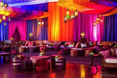 An Ultra-Luxe, Three-Day Eastern Wedding - Day Inspired by Morocco - WedLuxe Magazine Moroccan Party, Moroccan Theme, Indian Party, Moroccan Lounge, Arabian Party, Arabian Nights Party, Reception Decorations, Event Decor, Mehndi Decor