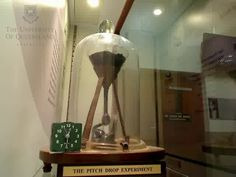 The pitch drop experiment is an experiment that has been running continuously since 1927.  It is attempting to measure the viscosity of pitch, or asphalt, which generates one drop every 10 years or so.  Pitch is 20 BILLION times more viscous than water.