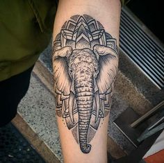 Mandala elephant tattoo by Len N Awe