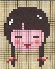 Girl face hama perler pattern