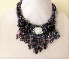 Handmade bead embroidered bib necklace with by SassyBeadedJewelry