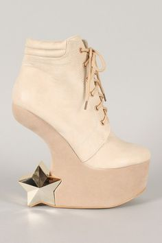 Fahrenheit Felicia-05 Star Lace Up Heel Less Curved Wedge Bootie $46.50
