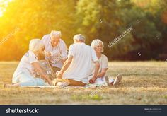 Happy group of seniors making a picnic in the park in summer