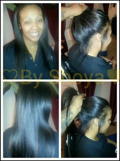 Sewed In Weave Pulled Into Ponytail Sew Wig