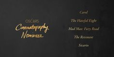 Congrats to our Cinematography nominees #Oscars2016 #OscarNoms
