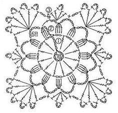 Crochet Circles, Crochet Motifs, Crochet Diagram, Crochet Stitches Patterns, Doily Patterns, Crochet Chart, Crochet Squares, Thread Crochet, Crochet Doilies