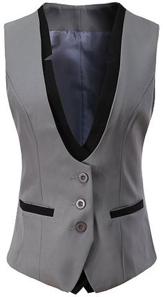 Women V-Neck Slim Fit Business Office Bottoned Dressy Suit Vest Waistcoat - Grey - Clothing, Coats, Jackets & Vests, Vests Patagonia Vest Outfit, Puffer Vest Outfit, Vest Outfits For Women, Suits For Women, Clothes For Women, Business Dresses, Business Attire, Suit Vest, Vest Jacket