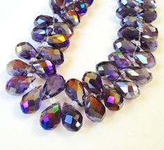 Purple Faceted Briolettes Teardrop Crystals, Top Drilled, 12mm 9 Pieces/ Not Finished Jewelry