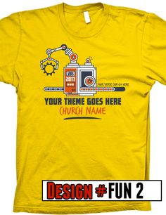 Fun Factory VBS 2017 t-shirt design- FREE shipping- all designs can be customized with theme information, colors, church name, shirt color, and scripture verse.