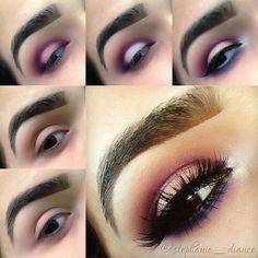 Purple gold makeup tutorial for brown eyes