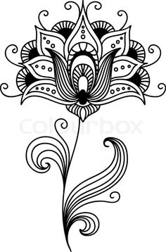 Stock vector of 'Ornate persian single flower design with pretty curling petals and tendrils and swirling leaves, vector illustration'