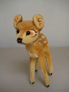 In my #ETSY Shop: #Steiff Vintage Disney Velvet #Bambi Deer - 14 cm - Button in Ear - Very Sweet