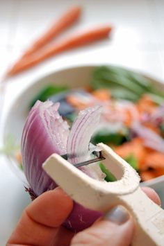 Smart: Use a potato peeler to slice thin strips of onion.