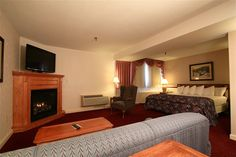 Fireplace Hotel Room at the Fireside Inn & Suites in Waterville, Maine - http://www.firesideinnwaterville.com
