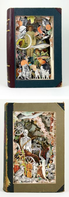 Alexander Korzer-Robinson creates incredible sculptural book collages using only the images found in each book.