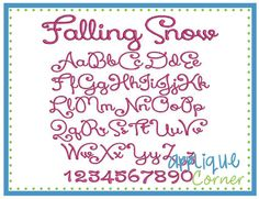 Falling Snow Embroidery Font