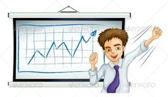 Businessman in front of Graph ...  adult, arrow, background, board, boy, bulletin, business, businessman, cartoon, employee, employer, gentleman, graph, human, icon, increase, increasing, isolated, male, man, meeting, person, rectangle, report, reporting, sales, white, whiteboard, work, working