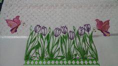Toalha lavabo - tulipas e borboletas